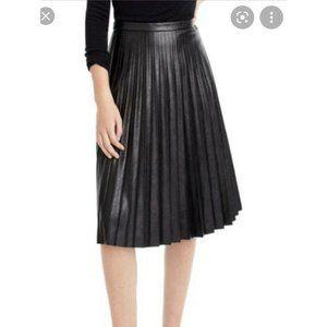 J. CREW Pleated Faux Leather Midi Skirt 6 Black